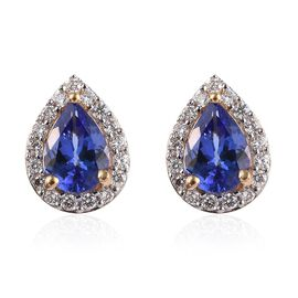 ILIANA 18K Yellow Gold AAA Tanzanite (Pear), Diamond (SI/G-H) Tear Drop Stud Earrings (with Screw Ba