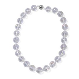 Aurora Borealis Colour Crystal (Rnd 17-19mm) Faceted Beads Necklace (Size 19.5) with Magnetic Lock