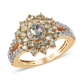 Narsipatnam Alexandrite (Ovl and Rnd), Natural Cambodian Zircon Floral Cluster Ring in 14K Gold Over