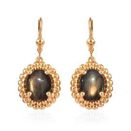 100% Natural Bokonaky Fire Labradorite (Ovl 11x9 mm) Lever Back) Earrings in 14K Gold Overlay Sterli
