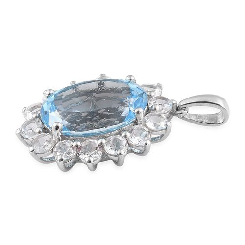 One Time Mega Deal- Very Rare Size Sky Blue Topaz (Ovl 18x13 mm 14.50 Ct), White Topaz Pendant in Platinum Overlay Sterling Silver 19.000 Ct.