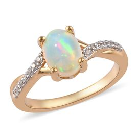 AA Ethiopian Welo Opal and Natural Cambodian Zircon Ring in 14K Gold Overlay Sterling Silver 0.87 Ct