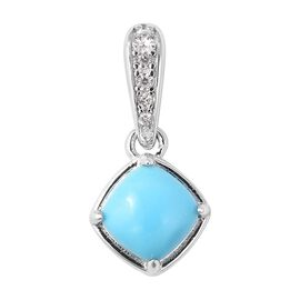0.89 Ct Arizona Sleeping Beauty Turquoise and Zircon Solitaire Pendant in Rhodium Plated Silver