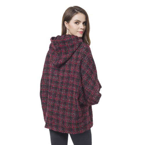 Designer Inspired -Wine Red, Black and Grey Colour Checks Pattern Cape (Size 75X60 Cm)