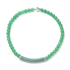 Green Aventurine and Neon Green Austrian Crystal Beads Necklace (Size - 20) with Magnetic Lock