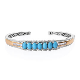 Arizona Sleeping Beauty Turquoise (Ovl), Natural Cambodian Zircon Cuff Bangle (Size 7.5) in Platinum
