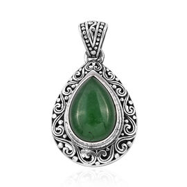 Royal Bali Collection Green Jade (Pear 18x13 mm) Pendant in Sterling Silver 13.150 Ct, Silver wt 5.78 Gms