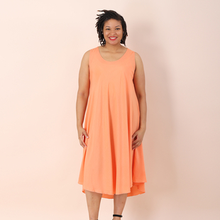 Jovie Solid Colour Viscose Sleeveless Dress in Orange (Size up to 20)