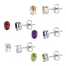 Set of 5 - Sky Blue Topaz, Mozambique Garnet, Hebei Peridot, Citrine and Amethyst (Ovl) Stud Earring