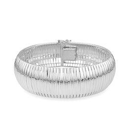 JCK Vegas Collection Rhodium Plated Sterling Silver Diamond Cut Cleopatra Bracelet (Size 7.5), Silver wt. 31.40 Gms.