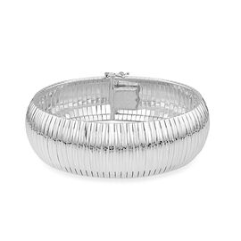 JCK Vegas Collection Diamond Cut Cleopatra Bracelet in Rhodium Plated Sterling Silver 31.40 grams Si