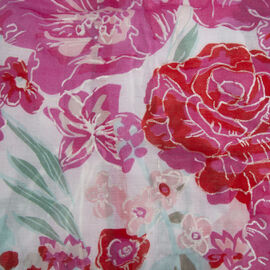 New Season- Pink and White Colour Flower Pattern Wrap (Size 83x90cm)