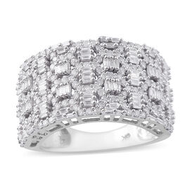 SGL CERTIFIED 9K White Gold Diamond (G-H/ I3) Ring 1.00 Ct, Gold wt 7.40 Gms, Number of Diamonds 237
