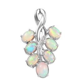 Ethiopian Welo Opal (Ovl), Diamond Pendant  in Platinum Overlay Sterling Silver 2.02 Ct.