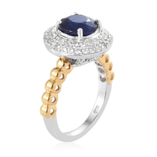 Masoala Blue Sapphire (Rnd 2.70 Ct), Natural Cambodian Zircon Ring in Platinum and Yellow Gold Overlay Sterling Silver 3.500 Ct.