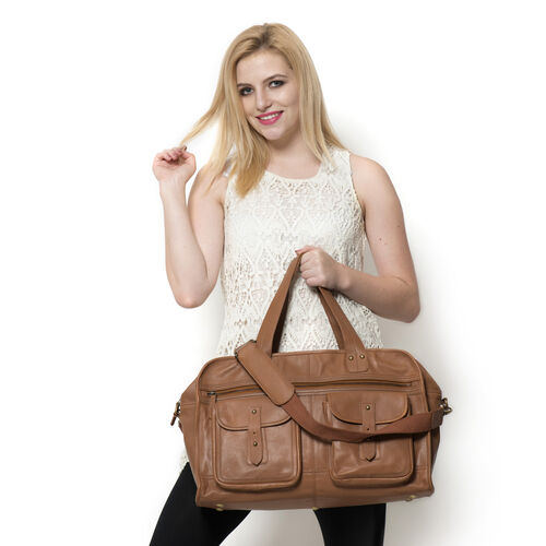 Boston Genuine Leather Weekend Travel Bag with Removable Shoulder Strap (Size 50x30x19 Cm)