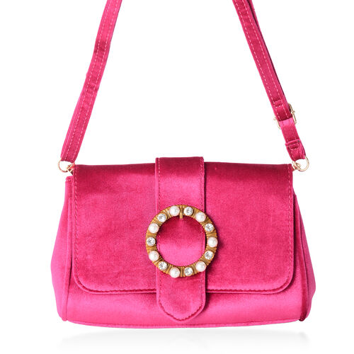 LUXE VELVET Dark Fuchsia  Cross Body Bag with Glass Pearl Pendant and Adjustable Shoulder Strap (24x16x9 cm)