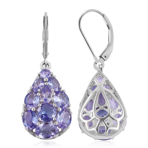 Tanzanite (Oval and Rnd) Drop Lever Back Earrings in Rhodium Plated Sterling Silver 5.860 Ct.