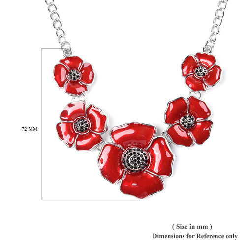 TJC Poppy Design - Black Austrian Crystal Enamelled Poppy Necklace (Size 20 with 3 inch Extender) in Silver Tone