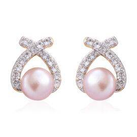 Freshwater Pink Pearl (Rnd), Natural Cambodian Zircon Earrings (with Push Back) in 14K Gold and Platinum Overlay Sterling Silver