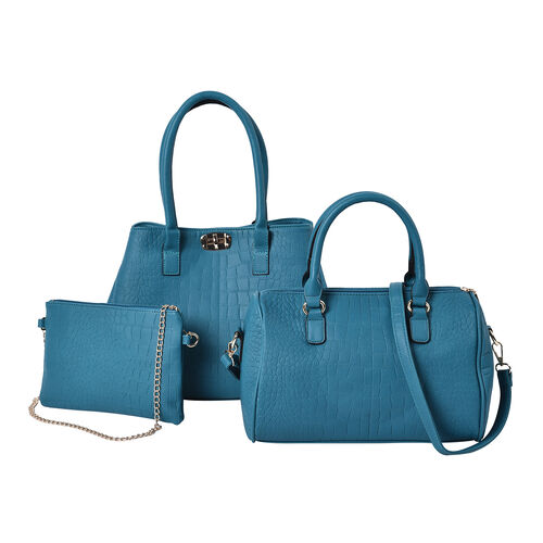 Set of 3 - Crocodile Skin Pattern Tote Bag (34x26x13.5cm), Satchel Bag with Detachable Shoulder Stra