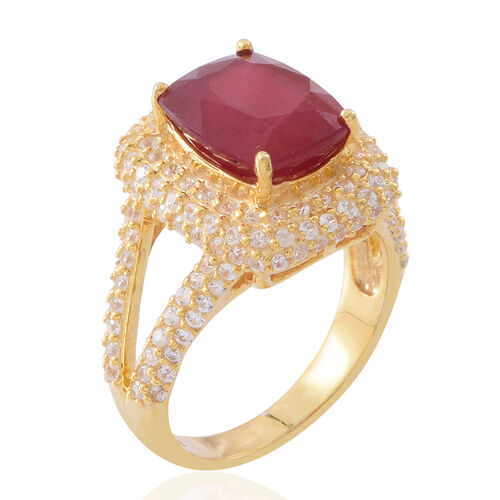 African Ruby (Cush 8.25 Ct), Natural White Cambodian Zircon Ring in 14K Gold Overlay Sterling Silver 11.250 Ct. Silver wt 5.60 Gms. Number of Gemstones 153