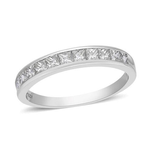 RHAPSODY 950 Platinum Certified Natural Diamond (VS/E-F) Half Eternity Band Ring 1.00 Ct, Platinum W
