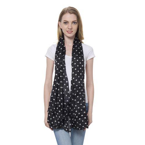 100% Mulberry Silk White Colour Polka Dots Pattern Black Colour Scarf (Size 180x110 Cm)