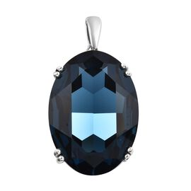 J Francis Montana Crystal from Swarovski Solitaire Pendant in Platinum Plated Sterling Silver