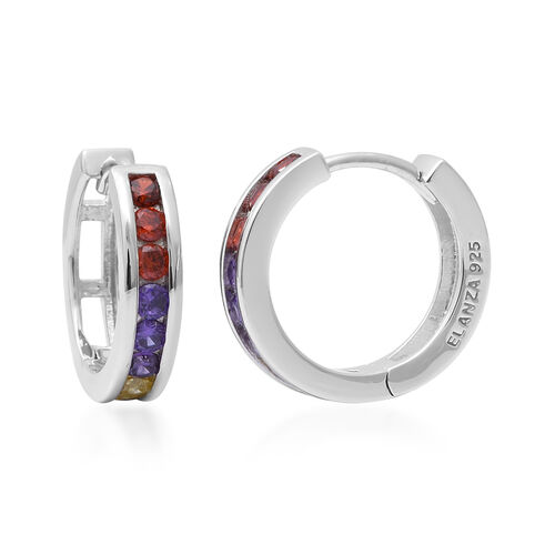 ELANZA Simulated Rainbow Sapphire Hoop Earrings in Rhodium Overlay Sterling Silver 1.65 Ct.