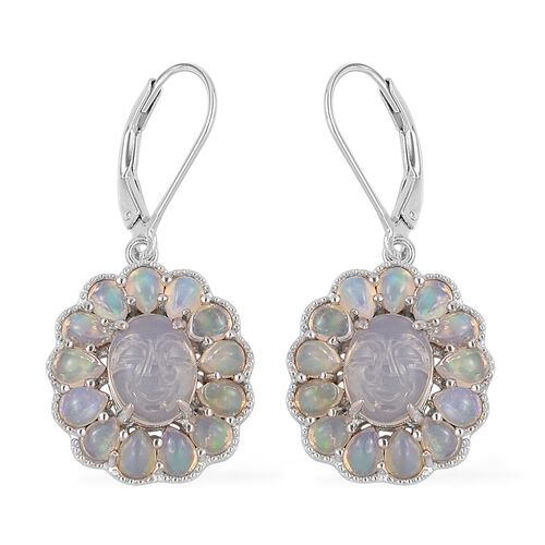 Smiling Face Carved Ethiopian Welo Opal (Ovl) Lever Back Earrings in Rhodium Plated Sterling Silver