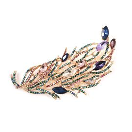 Simulated Multicolour Gemstone and Multicolour Austrian Crystal Feather Brooch in Gold Tone