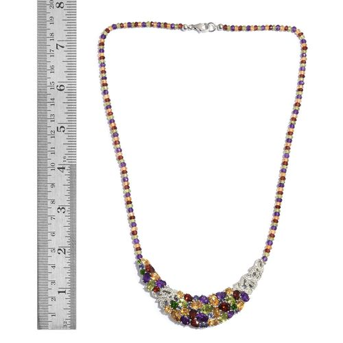 GP Hebei Peridot (Pear), Mozambique Garnet, Citrine, Amethyst and Russian Diopside Necklace (Size 18) in Platinum Overlay Sterling Silver 15.050 Ct.