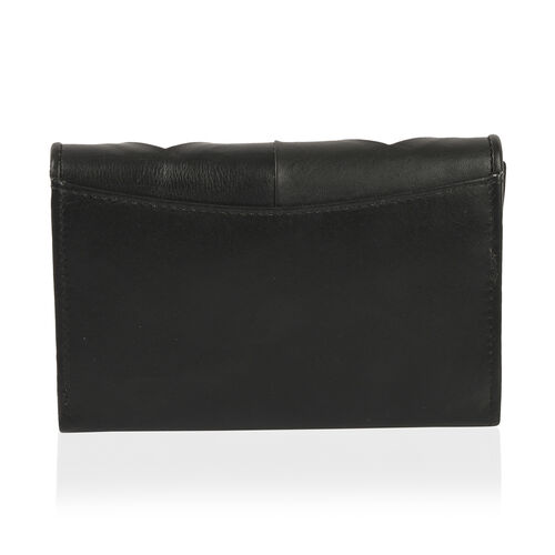 100% Genuine Leather Black and White Colour Wallet with RFID Blocking (Size 15x2x10 Cm)