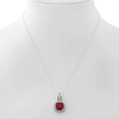 New Concept - African Ruby (Cush 6.20 Ct), White Topaz and Kanchanaburi Blue Sapphire Pendant with Chain in Rhodium Plated Sterling Silver 8.000 Ct. Silver wt 5.10 Gms.