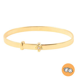 Natural Cambodian Zircon Adjustable Star Bangle in Yellow Gold Overlay Sterling Silver (Size 5), Sil