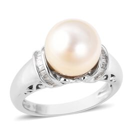 White South Sea Pearl (Rnd 10-11 mm), Diamond Ring in Rhodium Overlay Sterling Silver