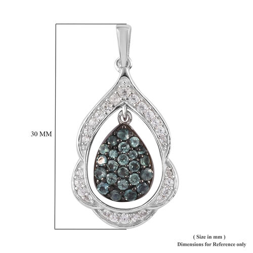 Narsipatnam Alexandrite, Natural Cambodian Zircon Cluster Drop Pendant Platinum Overlay Sterling Silver 1.00 Ct.