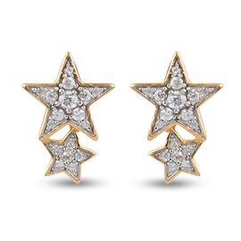 Sundays Child Natural Cambodian Zircon Star Earrings in 14K Gold Overlay Sterling Silver.