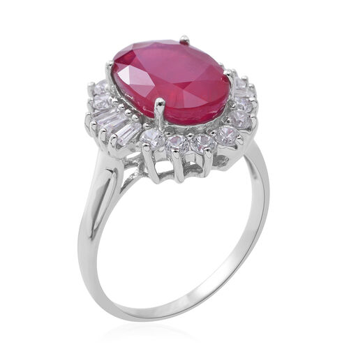 Designer Inspired- Limited Edition- Rare Size African Ruby (Ovl 14X10 mm 9.00  Ct), Natural Cambodian White Zircon Ring in Rhodium Overlay Sterling Silver 10.730 Ct.