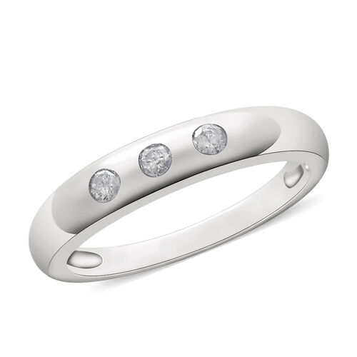 9K White Gold 0.15 Ct Diamond Trilogy Band Ring SGL Certified (I3/G-H)