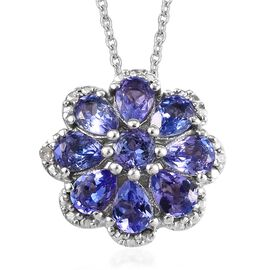 Tanzanite (Pear and Rnd), Diamond Pendant With Chain (Size 18) in Platinum Overlay Sterling Silver 1