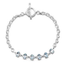 Sky Blue Topaz (Ovl) Bracelet (Size 7.5) in Sterling Silver 3.000 Ct,  Silver wt 3.71 Gms.