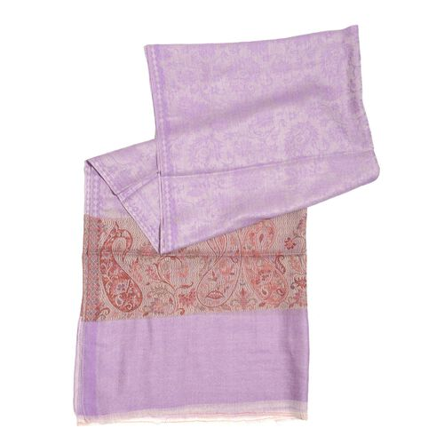 Limited Available - 88% Merino Wool and 12% Silk Lilac, Red and Multi Colour Shawl with Fringes (Size 180x70 Cm)