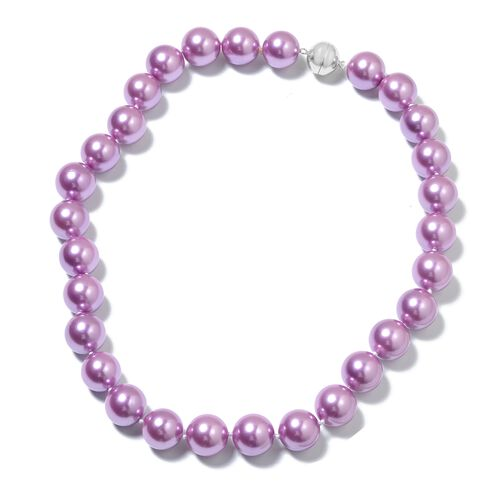 Purple Shell Pearl Ball (15-17mm) Necklace (Size 20) with Magnetic Clasp in Rhodium Plated Sterling Silver