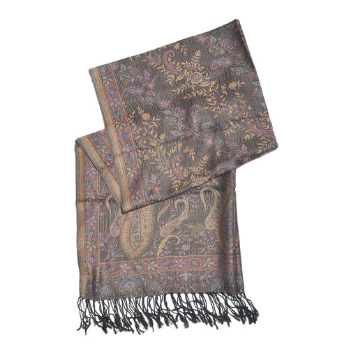 Black, Pink and Multi Colour Paisley and Floral Pattern Jacquard Scarf with Tassels (Size 180X70 Cm)