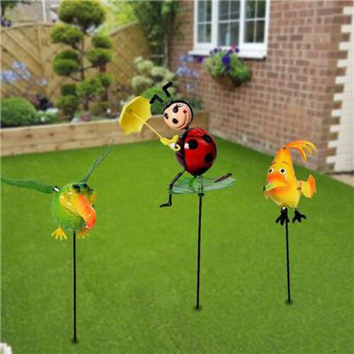 3 Piece Set - Decorative Chicken, Beetle and Bird Windmill (Height 50-55cm) - Yellow, Red and Green