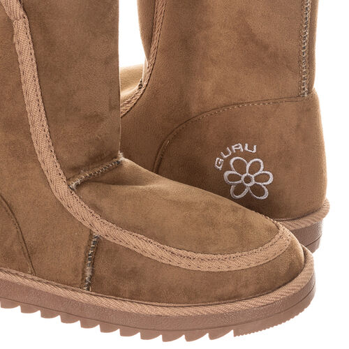 GURU Womens Winter Fluffy Ankle Boots (Size 3) - Sand Brown