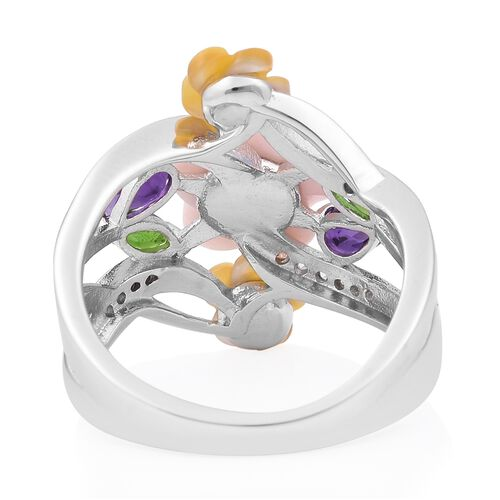 Multi Gem Stone Sterling Silver Ring  3.480  Ct.