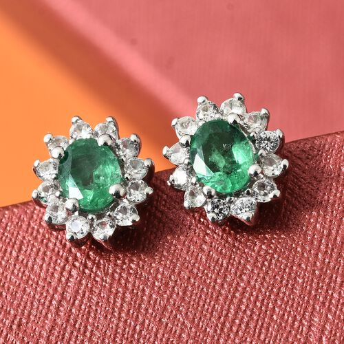 Limited Available- Premium Santa Terezinha Emerald (Ovl), Natural Cambodian Zircon Stud Earrings (with Push Back) in Platinum Overlay Sterling Silver 1.000 Ct.